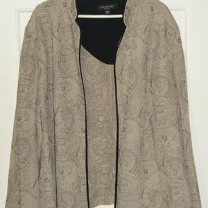 Beige and Black Open Front Jacket 24W